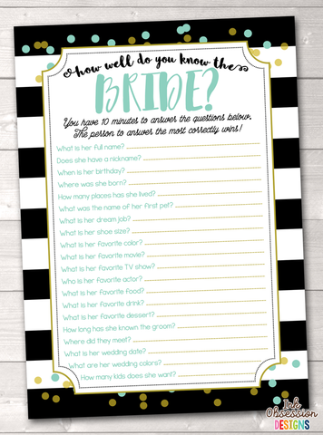 Black Stripes & Aqua Blue How Well Do You Know the Bride Printable Bridal Shower Game