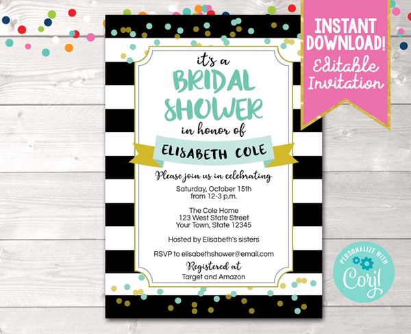 Editable Black Stripes and Aqua Bridal Shower Invitation Instant Download Digital File