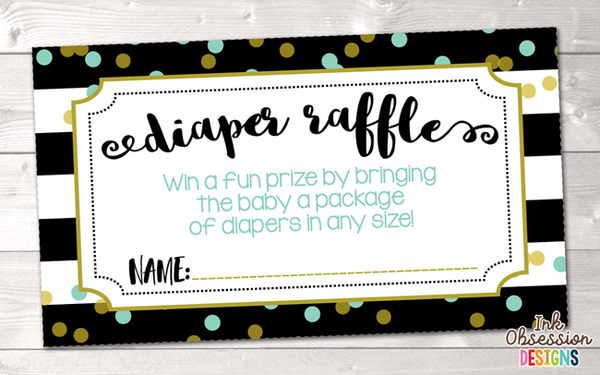 Black Stripes and Aqua Blue Polka Dots Printable Diaper Raffle Ticket