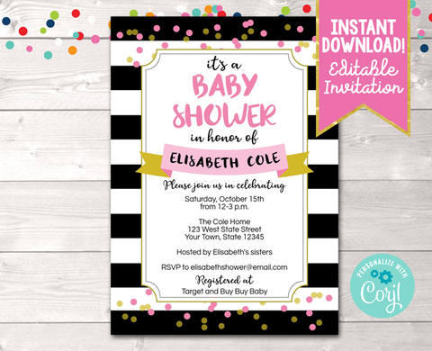 Editable Black Stripes and Pink Baby Shower Invitation Instant Download Digital File
