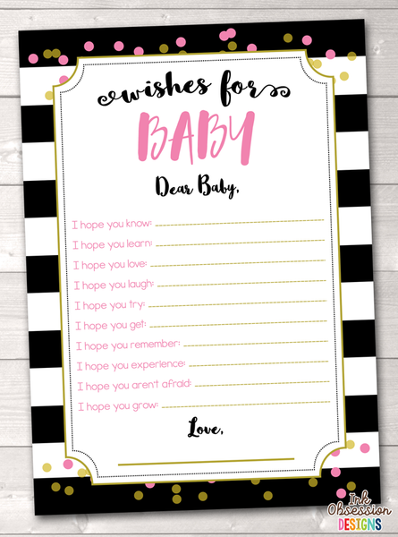 Black Stripes and Pink & Gold Polka Dots Printable Baby Wishes Cards