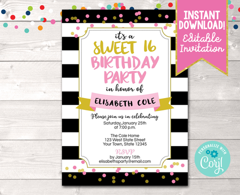 Editable Black Stripes and Pink & Gold Confetti Dots Milestone Birthday Party Invitation Instant Download Digital File