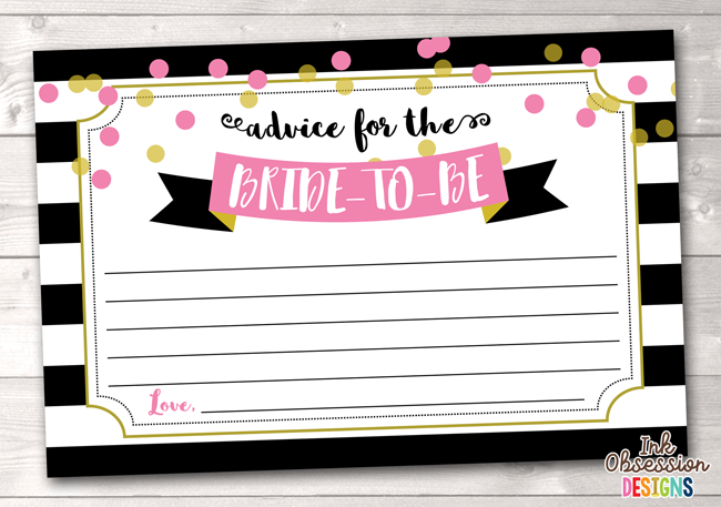 Black Stripes and Pink Polka Dots Printable Advice for the Bride to Be Cards