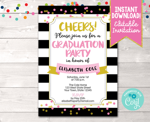 Editable Black Stripes and Pink Dots Graduation Party Invitation Instant Download Digital File