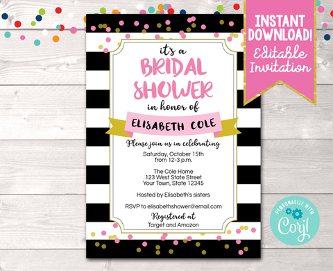 Editable Black Stripes and Pink Bridal Shower Invitation Instant Download Digital File