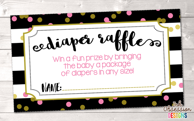 Black Stripes and Pink Polka Dots Printable Diaper Raffle Ticket