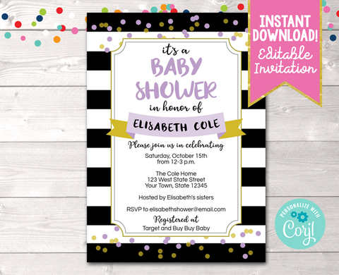 Editable Black Stripes and Purple Baby Shower Invitation Instant Download Digital File