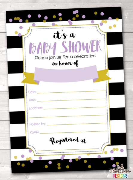 Black Stripes and Purple Baby Shower Invitation Printable PDF