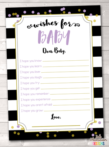 Black Stripes and Purple & Gold Polka Dots Printable Baby Wishes Cards