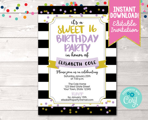 Editable Black Stripes and Purple & Gold Confetti Dots Milestone Birthday Party Invitation Instant Download Digital File