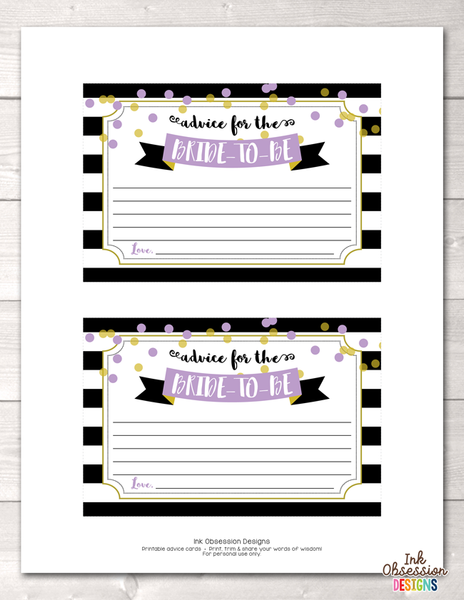Black Stripes and Purple Polka Dots Printable Advice for the Bride to Be Cards