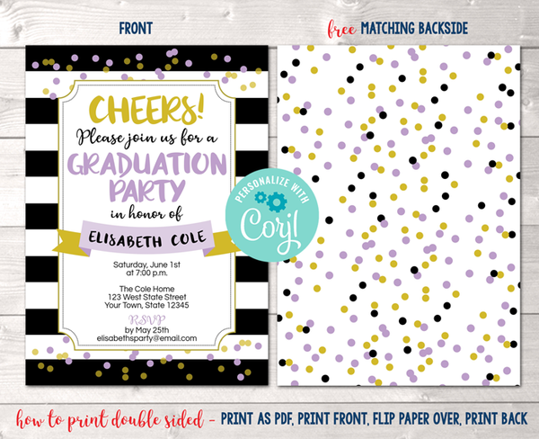 Editable Black Stripes and Purple Dots Graduation Party Invitation Instant Download Digital File