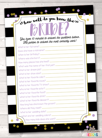 Black Stripes & Purple How Well Do You Know the Bride Printable Bridal Shower Game