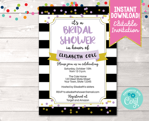 Editable Black Stripes and Purple Bridal Shower Invitation Instant Download Digital File