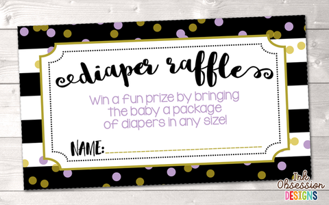 Black Stripes and Purple Polka Dots Printable Diaper Raffle Ticket