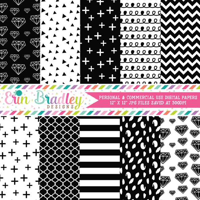 Black and White Diamonds Digital Scrapbook Paper Pack