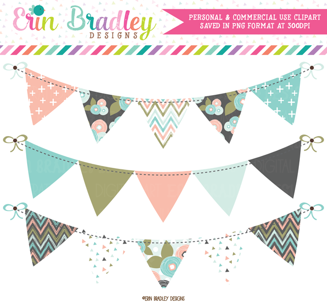 Bloom Bunting Banner Flag Clipart