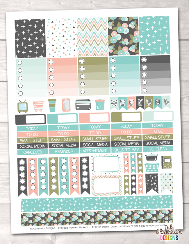 Bloom Printable Planner Stickers Weekly Kit