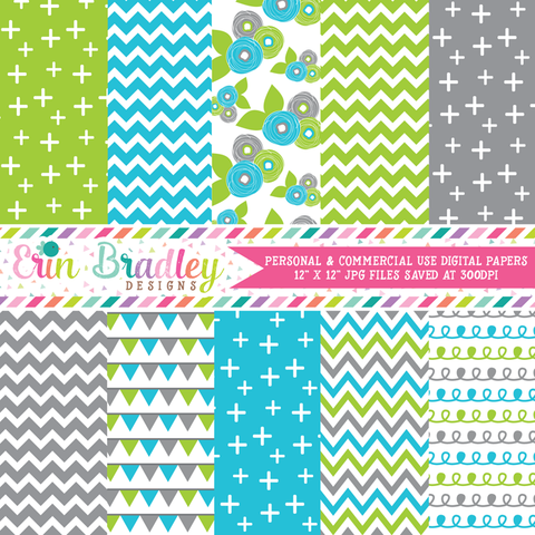 Blue Green Gray Florals Digital Paper Pack
