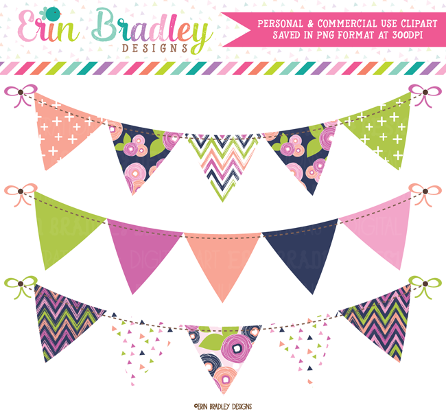 Blue Bloom Bunting Banner Flag Clipart