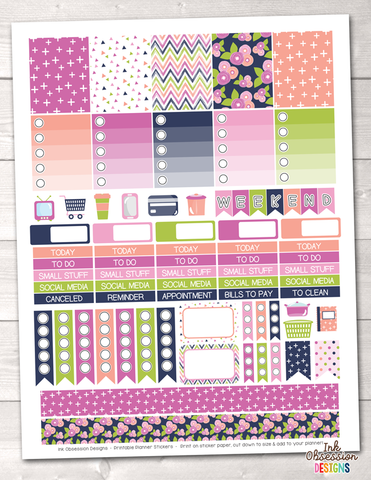 Blue Bloom Printable Planner Stickers Weekly Kit