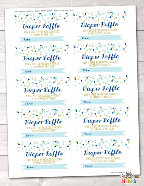 Blue Polka Dot Confetti Printable Diaper Raffle Ticket