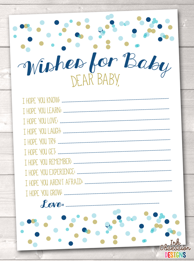 Blue Polka Dot Confetti Printable Baby Wishes Cards