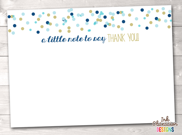 Blue and Gold Confetti Polka Dots Printable Thank You Cards