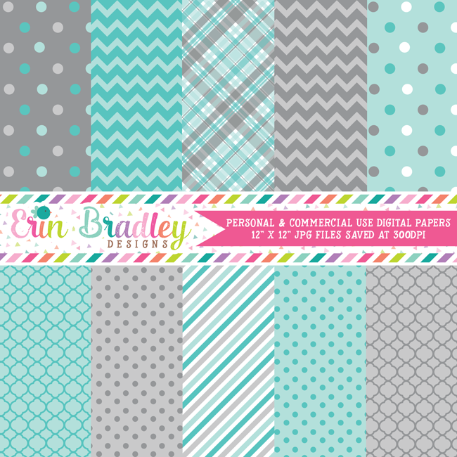 Blue and Gray Digital Paper Pack