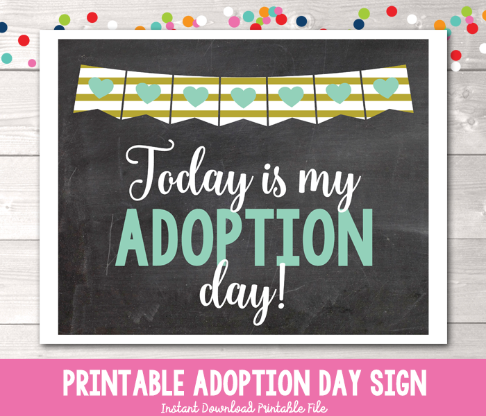 Boys Blue Hearts Today is My Adoption Day Photo Prop Sign Printable PDF