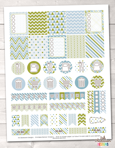 Olive Green and Blue Printable Planner Stickers Weekly Kit
