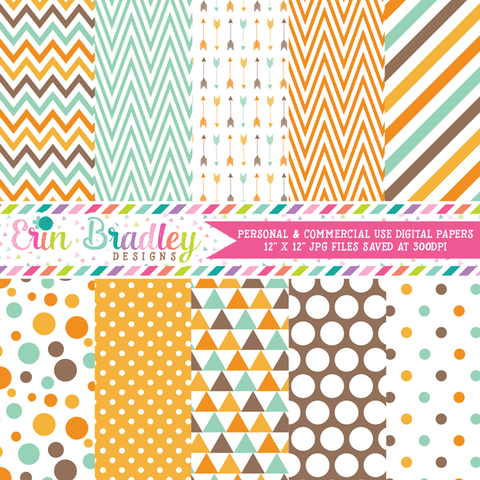 Aqua Blue Orange Brown Digital Paper Pack