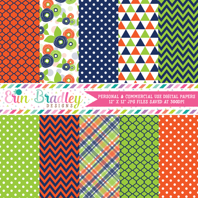 Blue Orange Green Digital Paper Pack