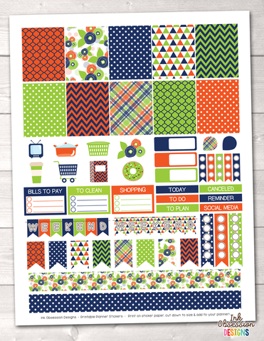 Blue Orange Green Printable Planner Stickers Weekly Kit