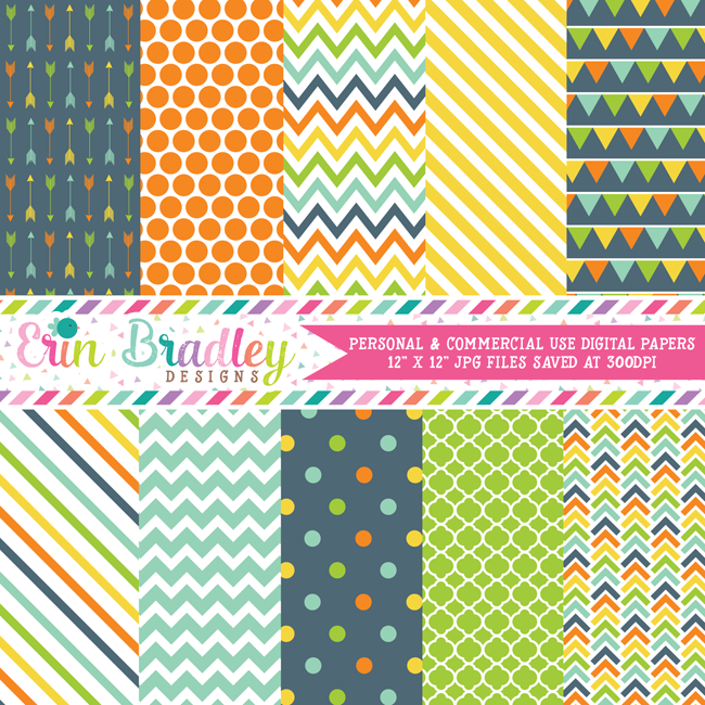 Blue Orange Yellow Green Digital Papers