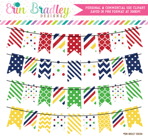 Red Navy Green Yellow Bunting Clipart