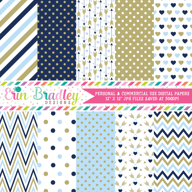 Blue Valentines Day Digital Paper Pack