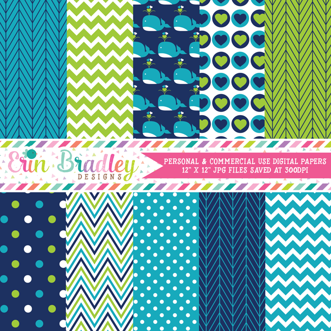 Blue Whales Nautical Digital Paper Pack
