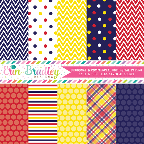 Navy Blue Red Yellow Digital Papers