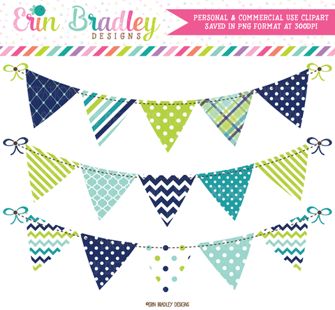 Blue and Green Bunting Banner Flag Clipart