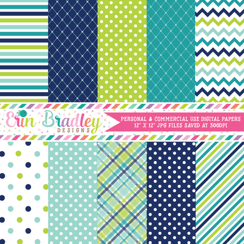 Blue and Green Digital Paper Pack