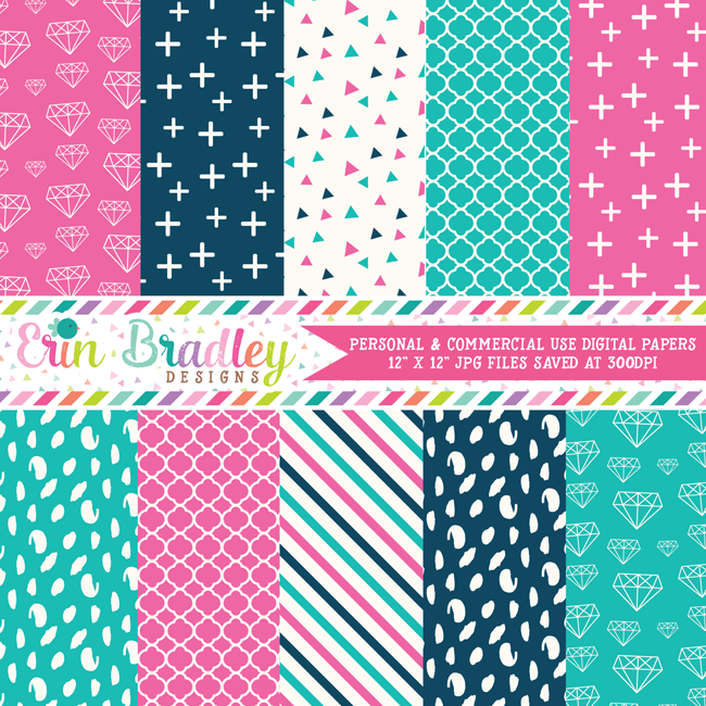 Blue and Pink Diamonds Digital Paper Pack
