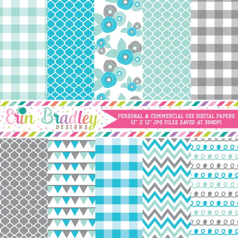 Blues and Gray Digital Paper Pack