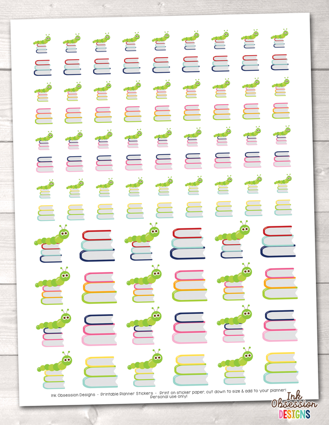 Instant Download Bookworm Printable Planner Stickers