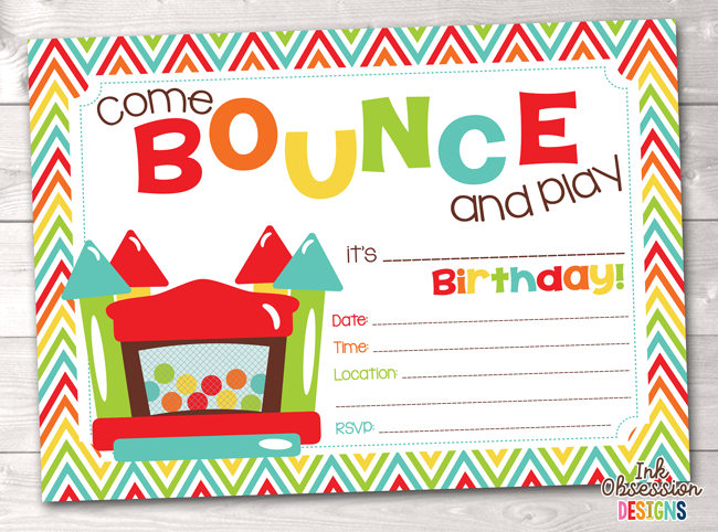 Bounce House Printable Birthday Party Invitation