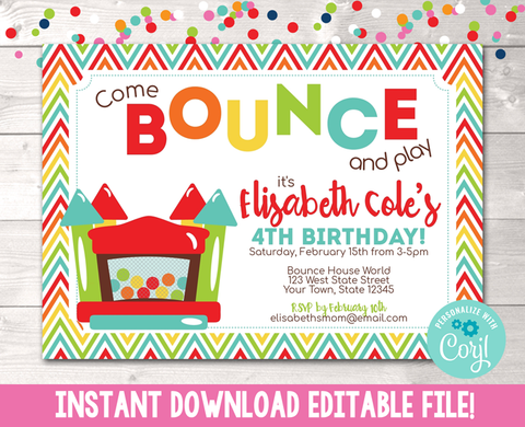 Editable Bouncy House Birthday Party Invitation Instant Download Digital File