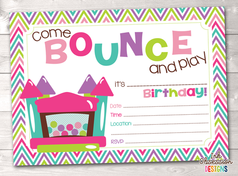 Girls Bounce House Printable Birthday Party Invitation