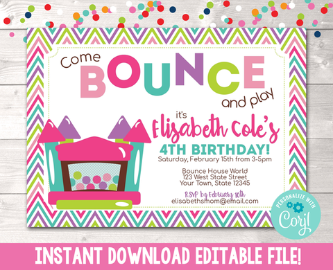 Editable Bouncy House Birthday Party Invitation Pink Instant Download Digital File