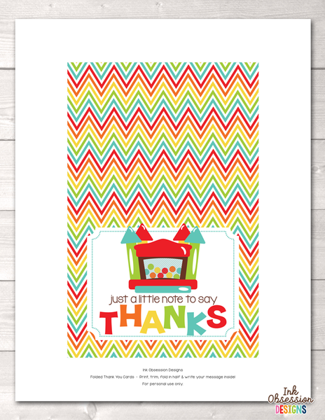 Bouncy House Printable Thank You Cards