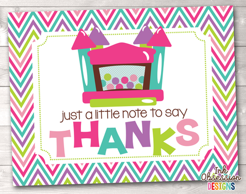 Girls Bouncy House Printable Thank You Cards
